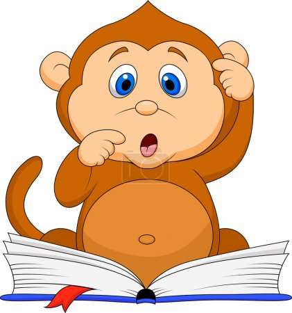 Illustration for Illustration of Cute monkey cartoon reading book - Royalty Free Image