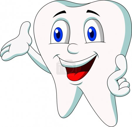 Happy tooth cartoon waving
