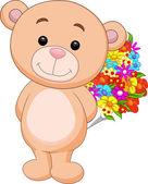 Cute bear cartoon holding flower bucket