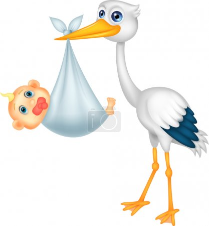 Stork craying baby cartoon