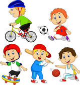 Funny boy cartoon character doing sport