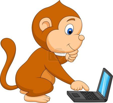 Cute monkey cartoon playing computer
