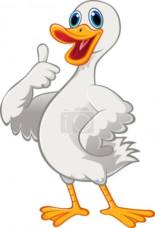 Cute duck cartoon with thumb up