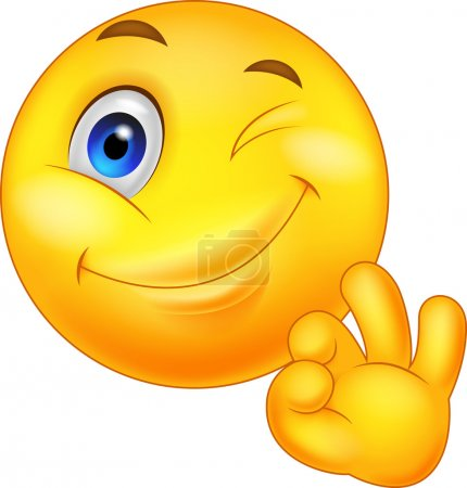 Illustration for Illustration of Smiley emoticon with ok sign - Royalty Free Image