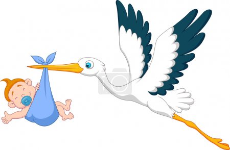 Photo for Illustration of Stork with baby boy cartoon - Royalty Free Image