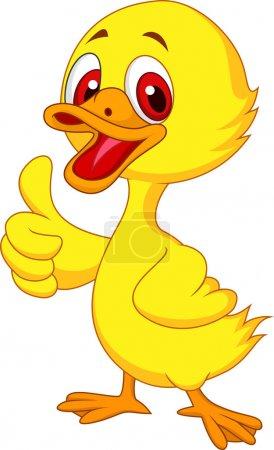 Cute baby duck cartoon thumb up