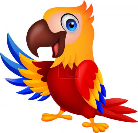 Photo for Illustration of Cute macaw bird cartoon waving - Royalty Free Image
