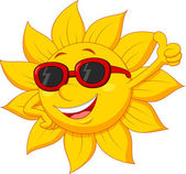 Illustration of Sun cartoon character with thumb up