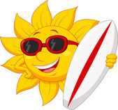 Illustration of Cute sun cartoon character with surfing board