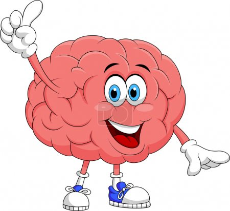 Illustration for Illustration of Cute brain cartoon character pointing - Royalty Free Image