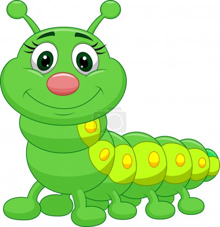 Cute green caterpillar cartoon