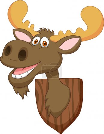 Funny moose head cartoon