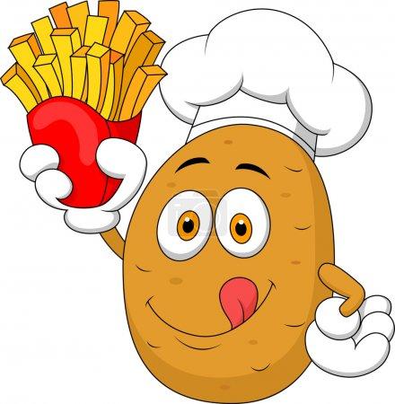 Illustration pour Chef de pommes de terre tenant jusqu'à une frites - image libre de droit
