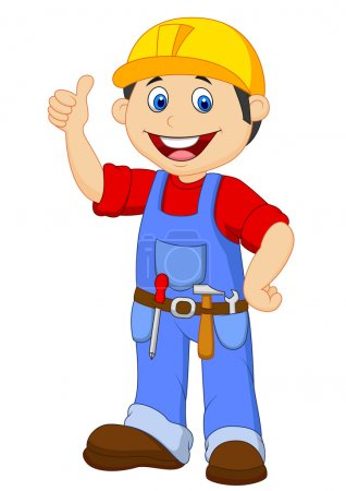 Photo for Cartoon handyman with tools belt thumb up - Royalty Free Image