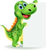 Cute dinosaur with blank sign