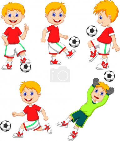 Illustration pour Garçon jouer ensemble collection de football - image libre de droit