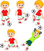 Boy playing soccer collection set