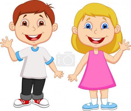 niños lindos agitando la mano