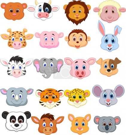 Photo for Animal head cartoon collection set - Royalty Free Image
