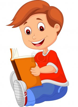 Photo for Young boy reading book - Royalty Free Image