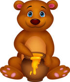 Cute bear cartoon with honey