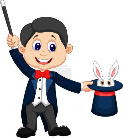 Illustration pour Illustration d'un magicien tirant un lapin de son chapeau - image libre de droit