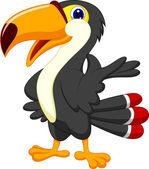 Cute toucan cartoon presenting