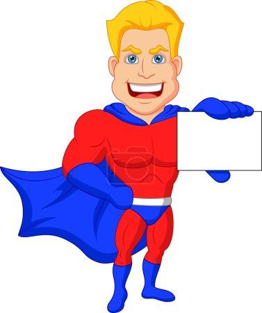 Illustration for Superhero cartoon holding name card - Royalty Free Image