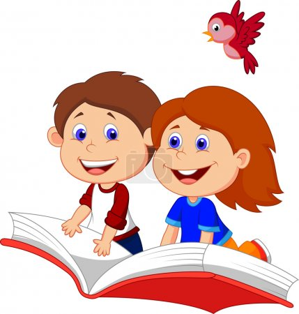 Photo for Boy and girl flying on a book - Royalty Free Image