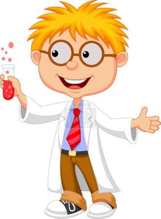 Vector illustration of Little Scientist holding test tube
