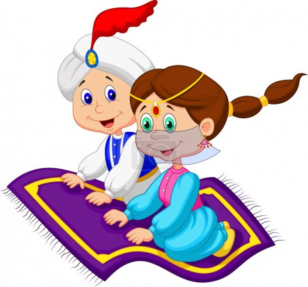 Photo for Couple on Flying Carpet - Royalty Free Image