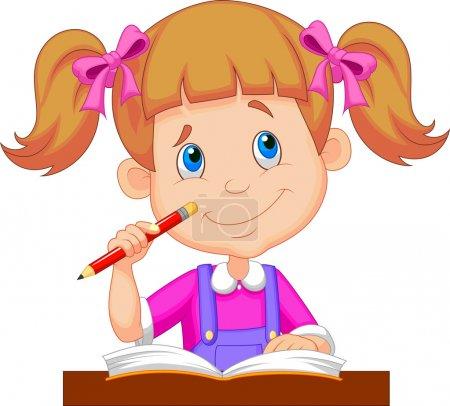 Cartoon girl reading book