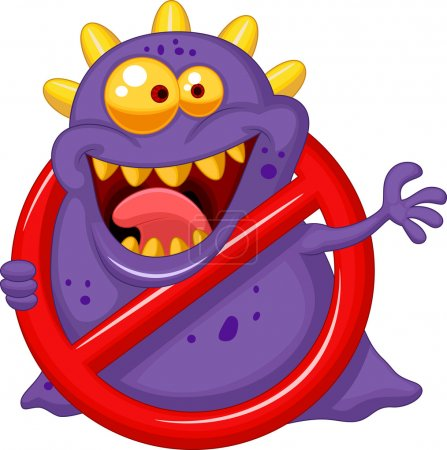 Photo for Stop virus - purple virus in red alert sign - Royalty Free Image