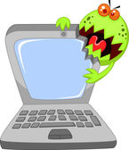 Cartoon virus eating computer