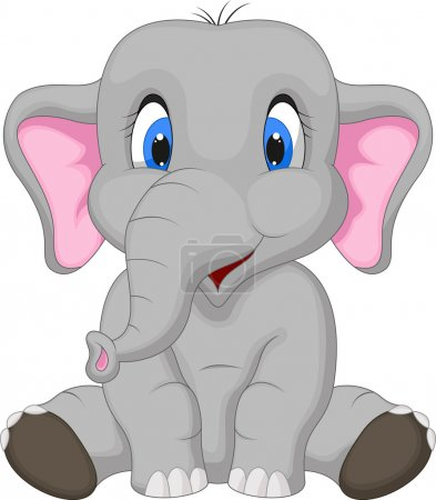 Illustration for Cute elephant cartoon sitting isolated on white background - Royalty Free Image