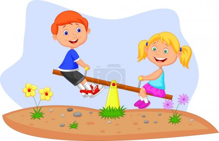 Illustration for Kids riding on seesaw - Royalty Free Image