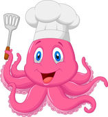 Cute octopus chef holding spatula