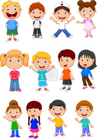 Illustration for Cute children cartoon collection - Royalty Free Image