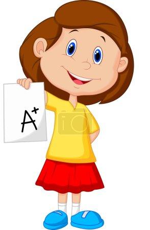 Illustration pour Fille montrant A plus grade isolé sur fond blanc - image libre de droit