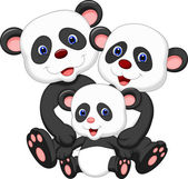 Happy panda family