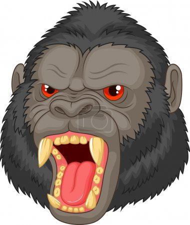 Illustration for Vector illustration of Angry gorilla head character - Royalty Free Image