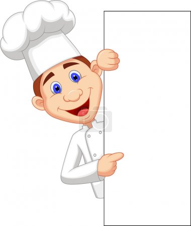 Illustration for Vector illustration of Chef cartoon with blank sign - Royalty Free Image