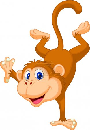 Illustration for Vector illustration of Cute monkey cartoon standing on his hand - Royalty Free Image