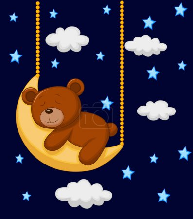 Photo for Vector illustration of Baby bear sleeping on the moon - Royalty Free Image