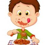 Boy eating spaghetti isolated on white background...