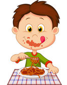 Boy eating spaghetti isolated on white background