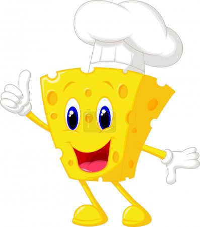 Cute chef cheese cartoon giving thumb up