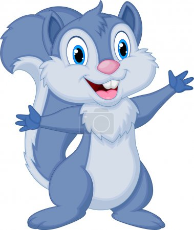 Cute squirrel cartoon waving