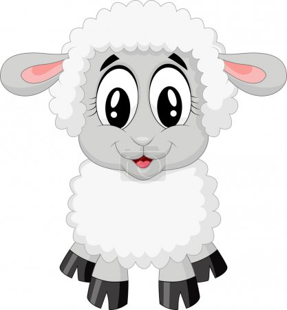 Illustration for Cute sheep cartoon isolated on white background - Royalty Free Image