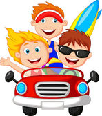 Young man and woman having fun driving their car on a road trip